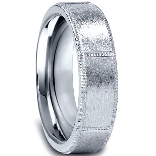 details about 10k white gold 6mm comfort fit mens wedding band