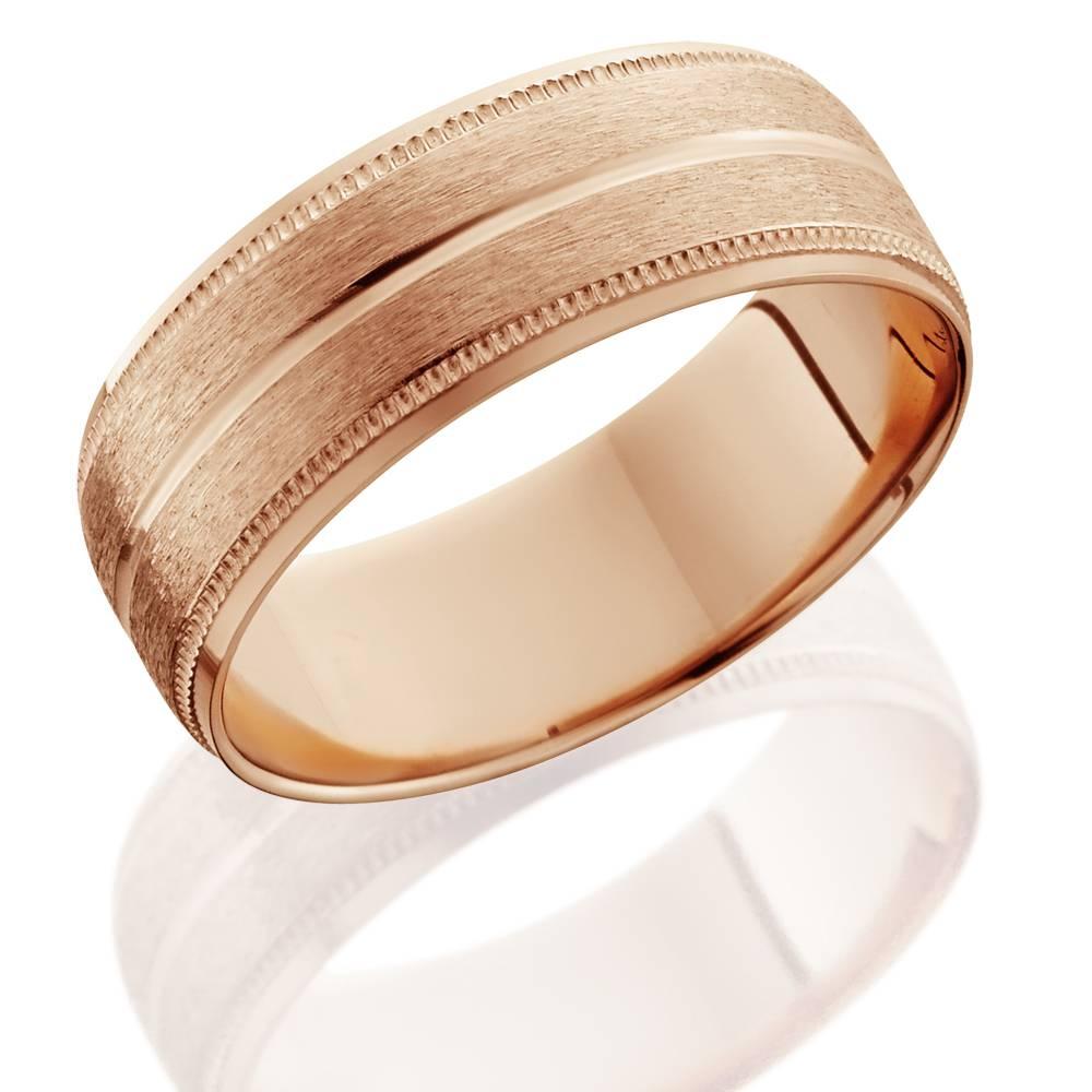 14k gold mens brushed milgrain beveled wedding band