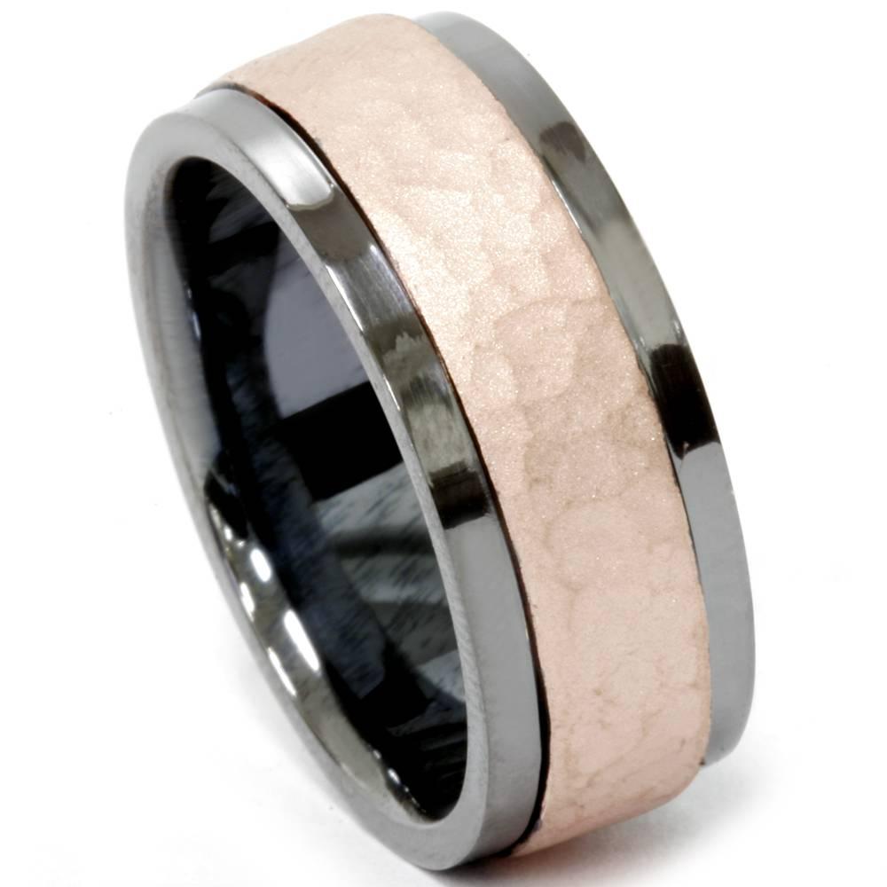 Mens Black Hammered Rose Gold 8mm Comfort Fit Wedding Band EBay