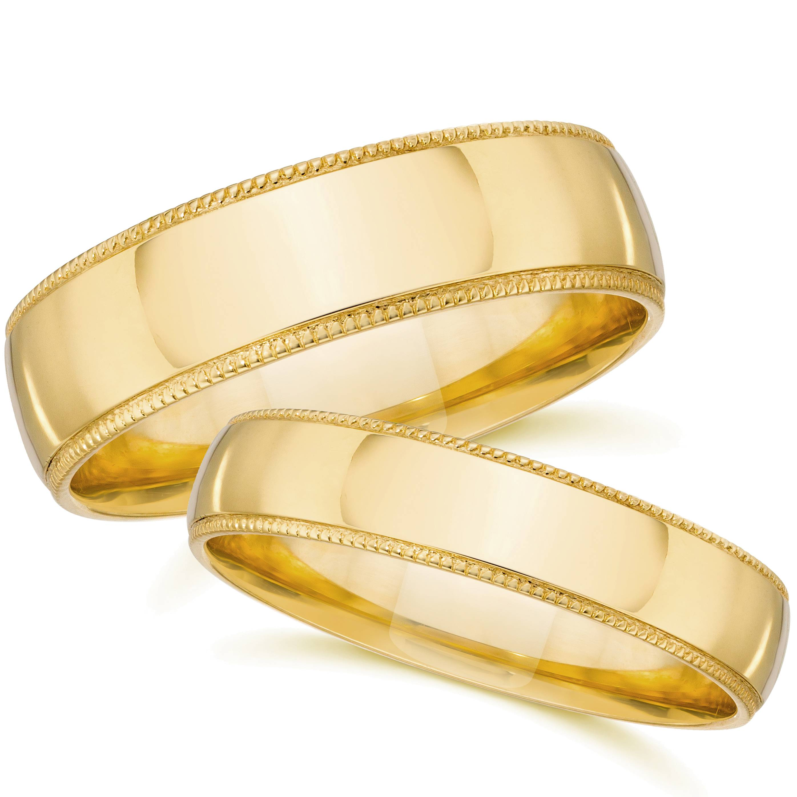 Yellow Gold Matching Wedding Bands Mens Womens Plain