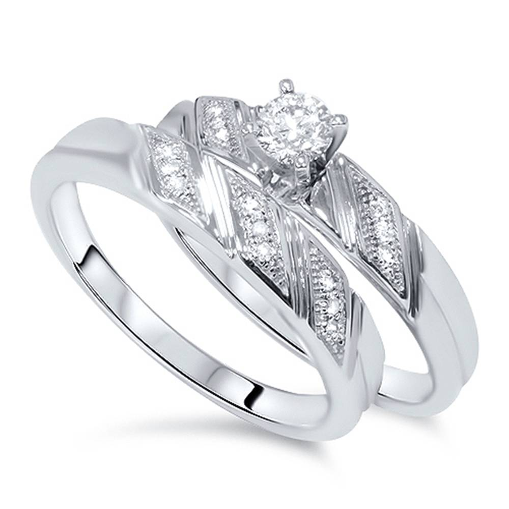 1/5ct Diamond Engagement Ring Matching Wedding Band Set 10K White Gold | EBay