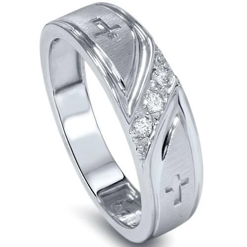10ct Mens Diamond Cross Wedding Ring Band 10K White Gold Size 4 12 EBay