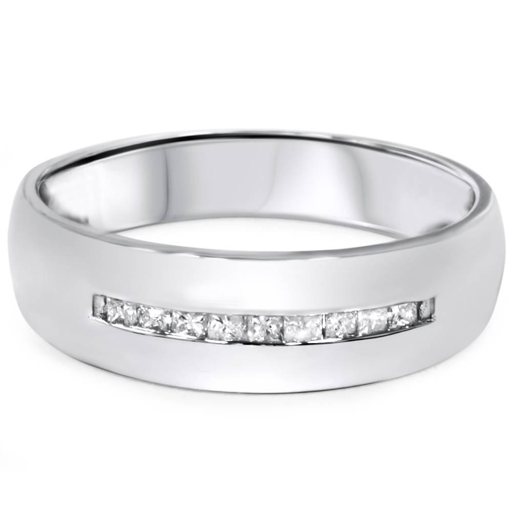 Mens 55mm 1 6ct princess cut diamond wedding ring 10k for 10k white gold wedding ring