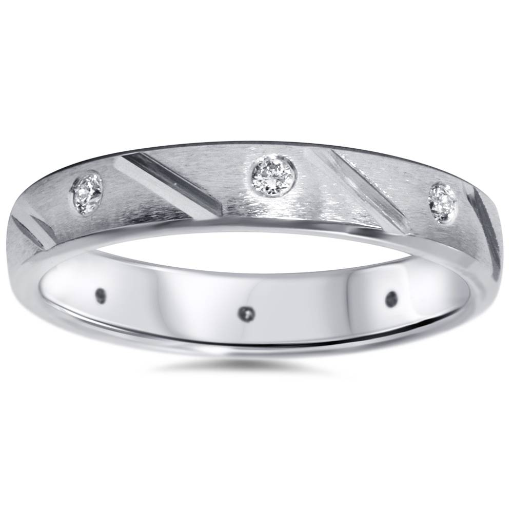 Mens 1 4ct Diamond Comfort Fit Wedding Ring Solid 14K White Gold