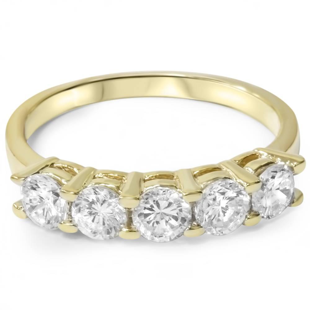 3 4ct diamond 5 stone wedding anniversary 14k yellow gold. Black Bedroom Furniture Sets. Home Design Ideas