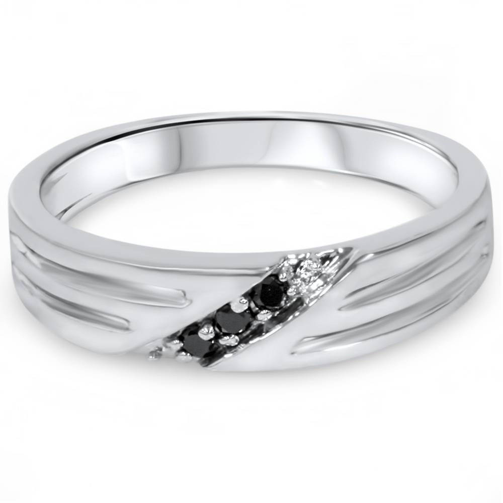 Treated Black Diamond Mens Wedding Band Ring 14k White Gold