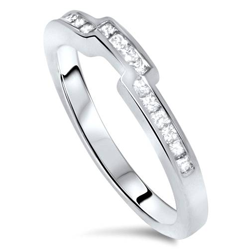 ... Princess Cut Curved Nothced Wedding Diamond Ring Band Guard 14k White