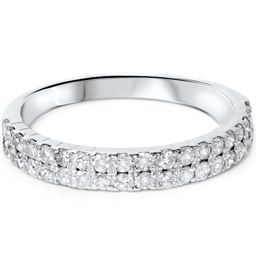 double row diamond wedding ring 14k white gold womens band pave title - Double Band Wedding Ring