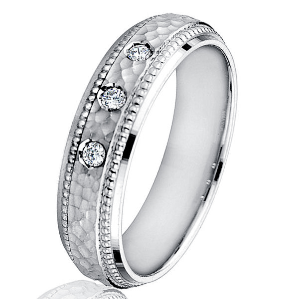 Mens Hammered Diamond 6mm Wedding Band 10K White Gold Brushed Milgrain New