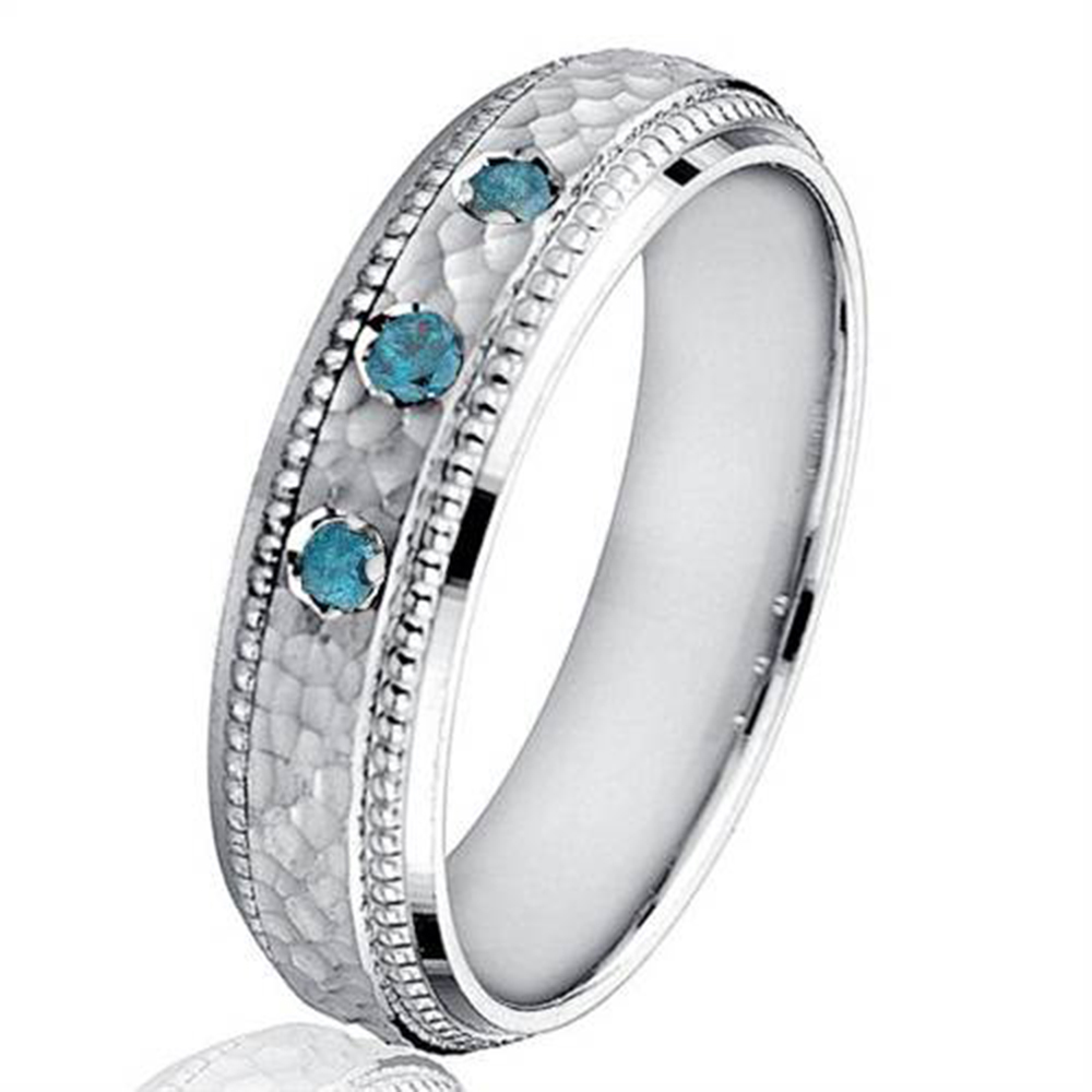 Mens Blue Diamond Hammered 10K White Gold Wedding Band