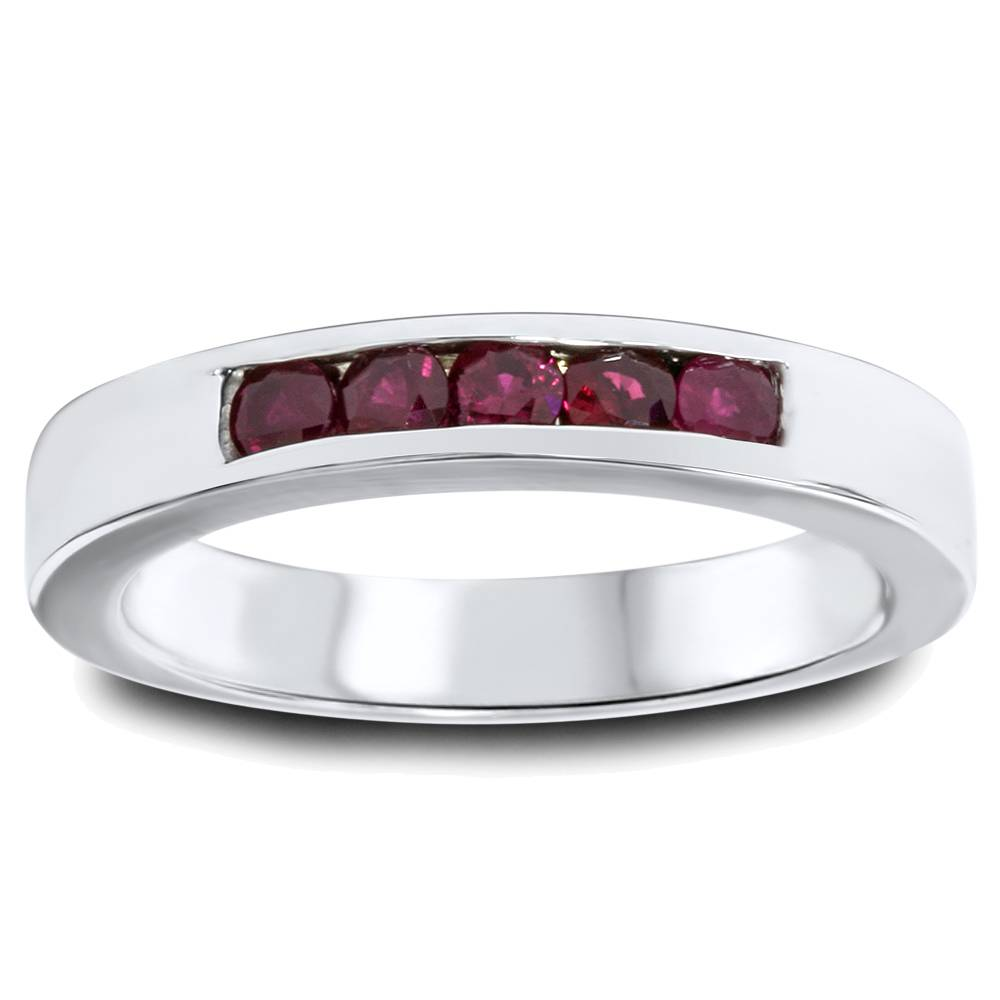 1 3ct Ruby Mens Channel Set Wedding Ring 14K White Gold