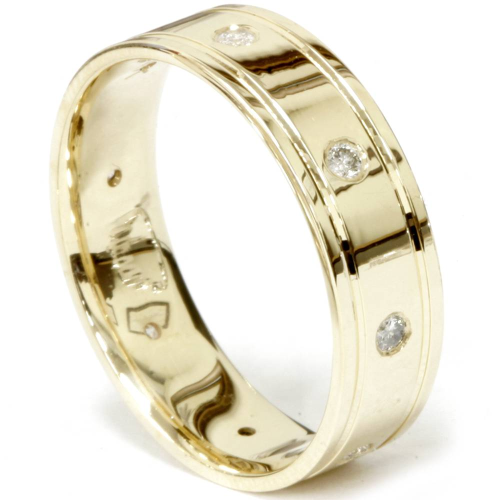 14k yellow gold mens diamond high polished wedding ring 6mm for Mens diamond wedding rings yellow gold