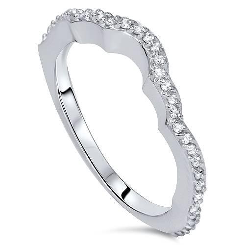 Pompeii3 1/4 Carat Diamond Curved Wedding Guard Ring Enhancer 14 Karat White Gold at Sears.com