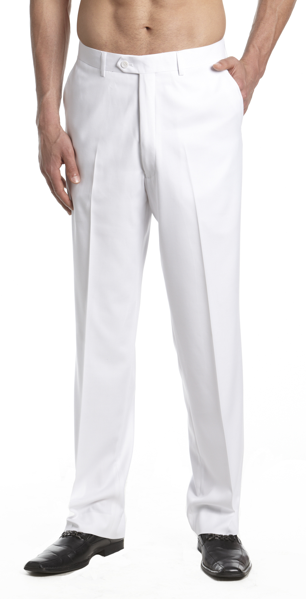 CONCITOR Men's Dress Pants Trousers Flat Front Slack Huge ...