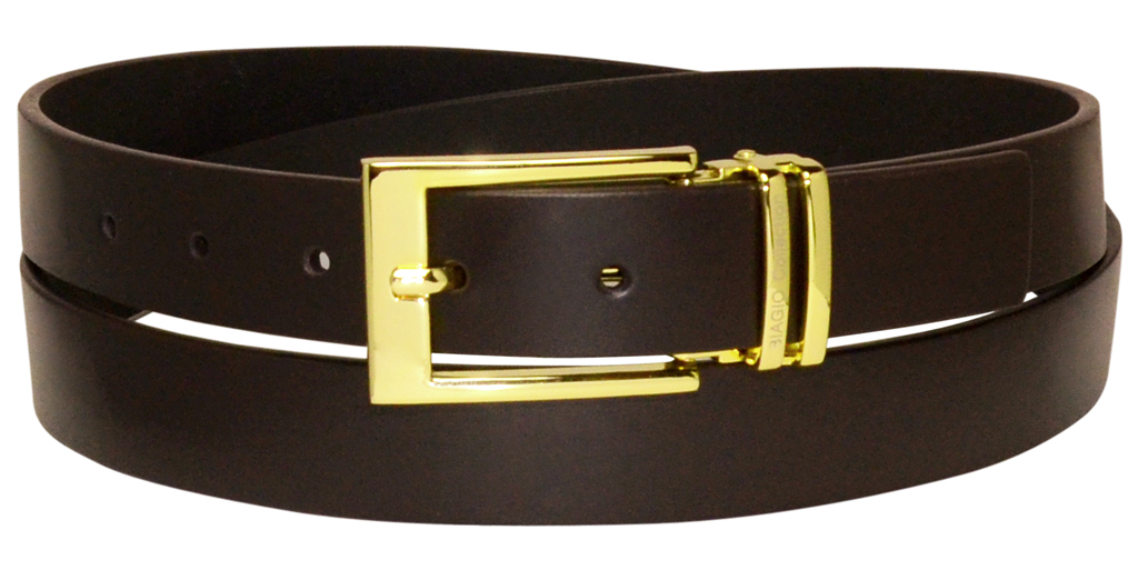 biagio s solid brown bonded leather belt with gold