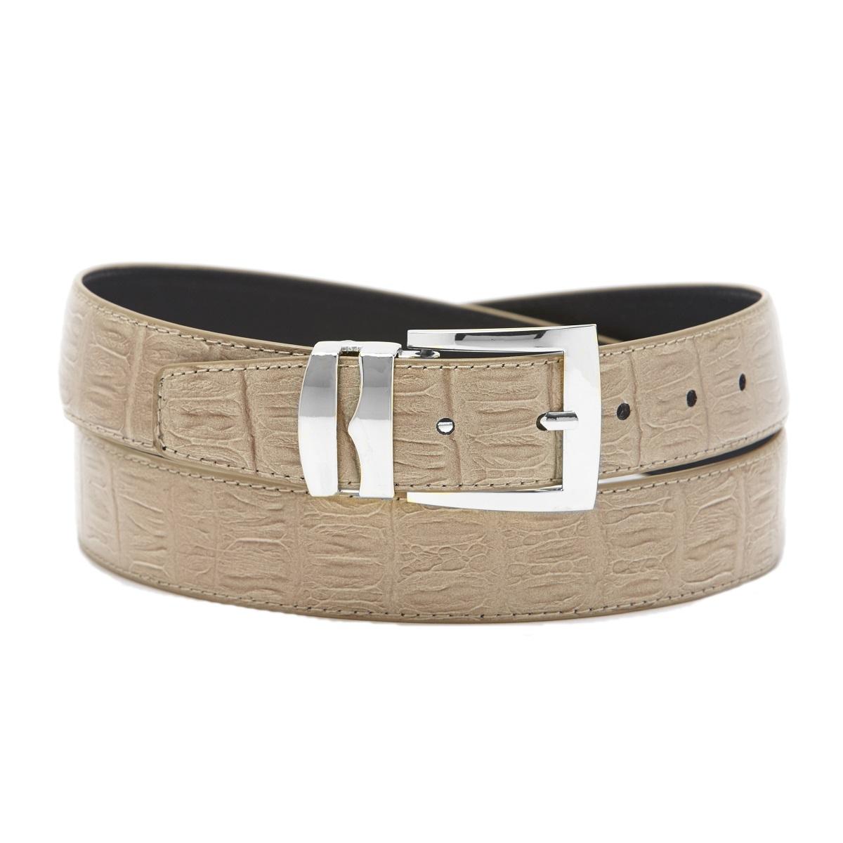 bonded leather belt hornback pattern solid colors silver
