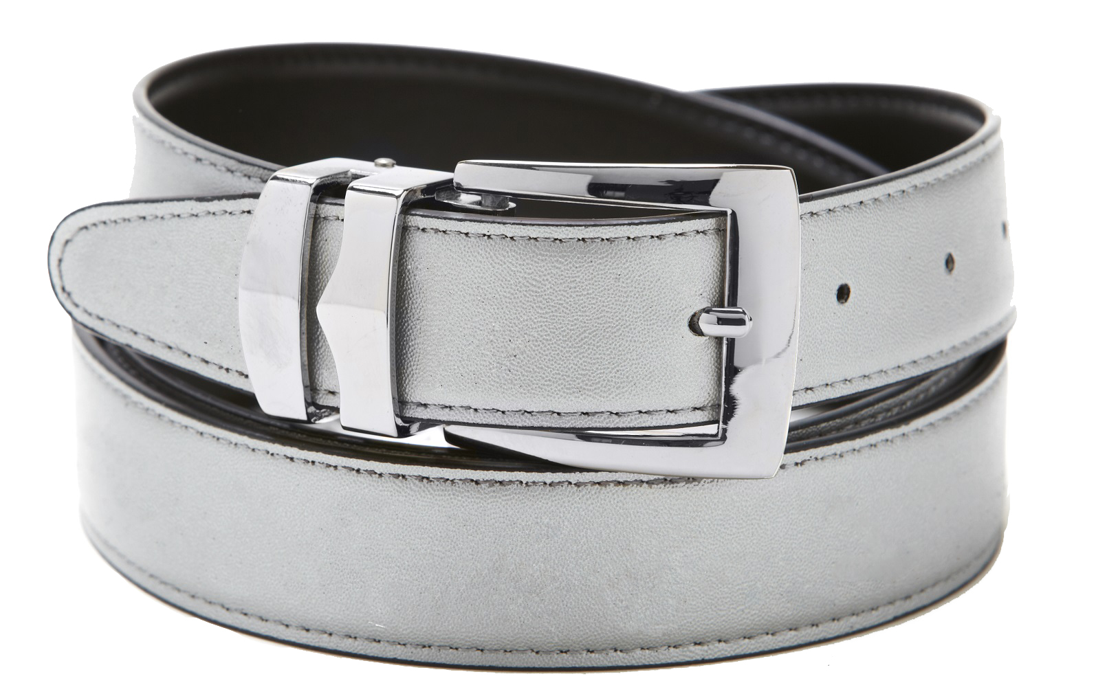 Men's Belt Reversible Bonded Leather Belts Silver-Tone ...