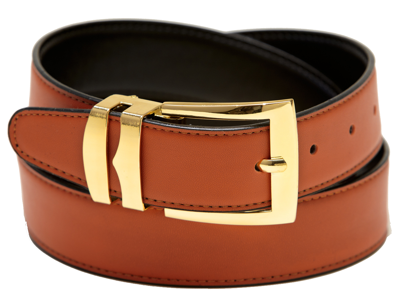 Men's Belt Reversible Wide Bonded Leather Gold-Tone Buckle ...