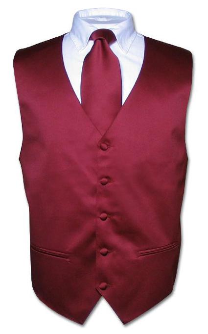 Men s dress vest necktie burgundy neck tie set for suit or tuxedo