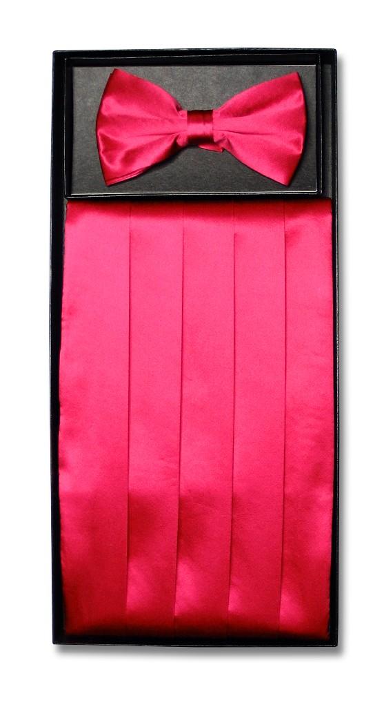 Men 39s SILK Hot Pink Fuchsia CumberBund BowTie Set NEW