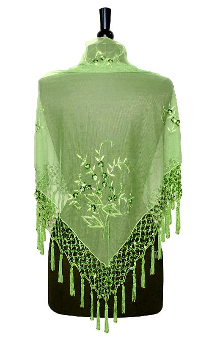 handmade beaded embroidered shawl scarf wrap lime green ebay