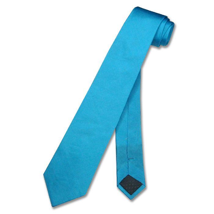 silk narrow necktie turquoise aqua blue s neck