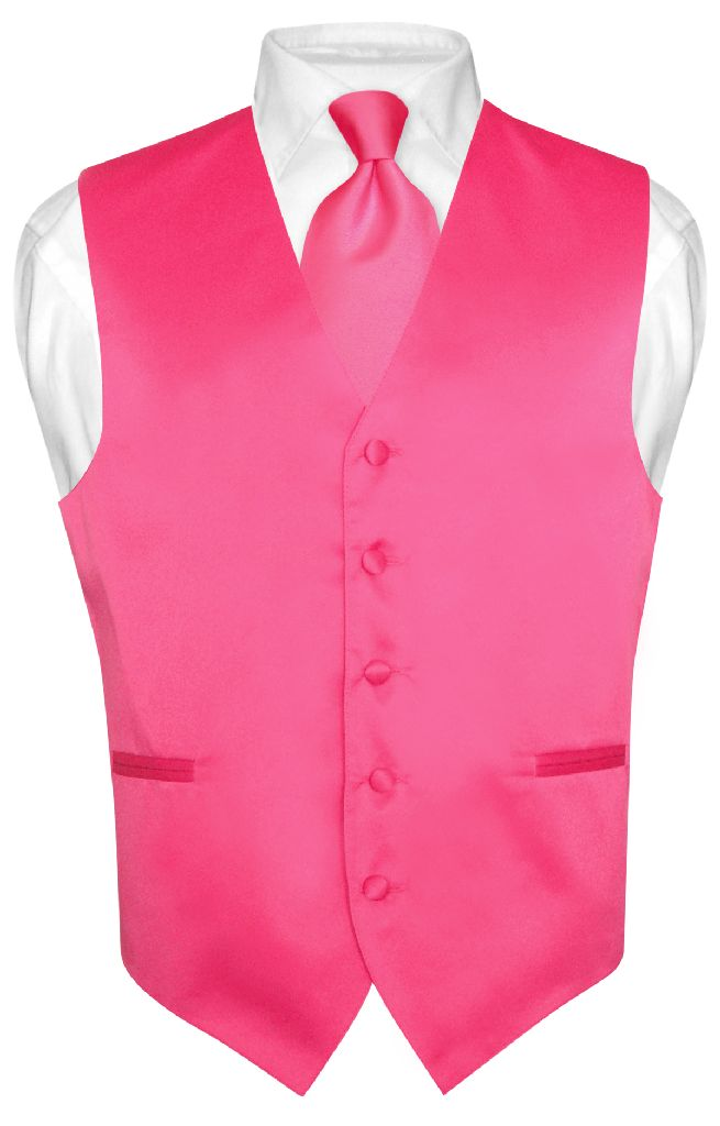 Men 39 S Hot Pink Fuchsia Tie Dress Vest And Necktie Set For