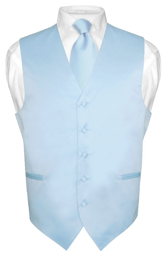 s baby blue tie dress vest and necktie set for suit or