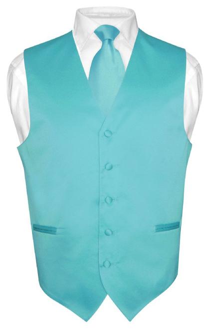 Men's Dress Vest NeckTie TURQUOISE AQUA BLUE Neck Tie Set for