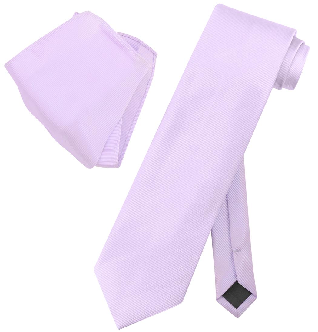 Vesuvio Napoli Solid Color Woven Stripe NeckTie Handkerchief Neck Tie Hanky Set