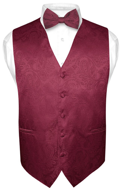 Men's Burgundy Paisley Design Dress Vest and BOWTie Set for Suit or