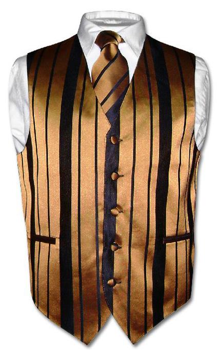 men u0026 39 s dress vest  u0026 necktie gold  u0026 black color woven