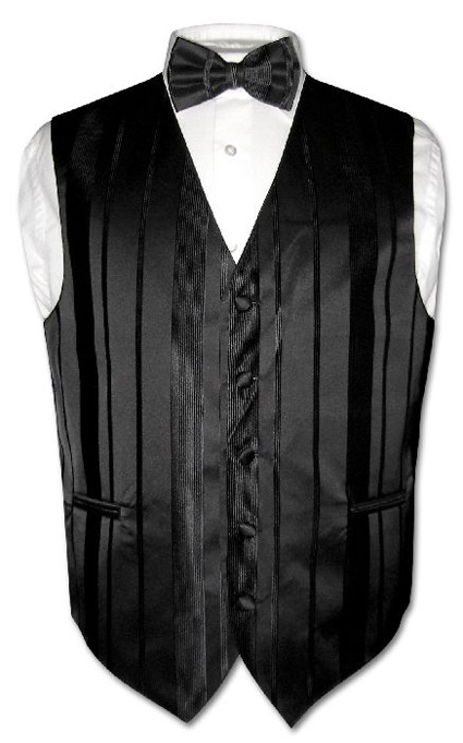 Men-039-s-Dress-Vest-amp-BOWTIE-BLACK-Striped-Woven-BOW-TIE-Design-Set