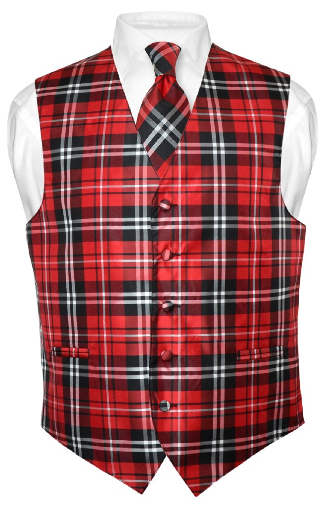men 39 s plaid design dress vest necktie black red white neck tie set for suit tux ebay. Black Bedroom Furniture Sets. Home Design Ideas