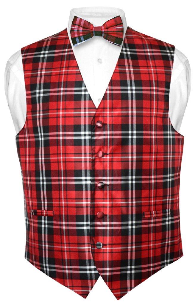 men 39 s plaid design dress vest bowtie black red white bow. Black Bedroom Furniture Sets. Home Design Ideas