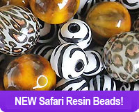 Jungle Print Resin Beads