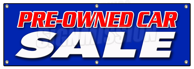 "SignMission 72"" PRE-OWNED CAR SALE BANNER SIGN used auto automobile buy here we finance low mile at Sears.com"