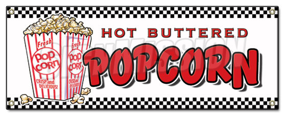 Popcorn Banner Sign Stand Cart Concession Signs Kettle