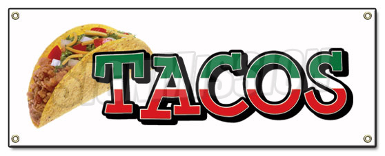 Tacos Banner Sign Taco Stand Cart Mexican Signs Mexico