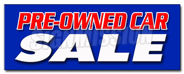"SignMission 12"" PRE-OWNED CAR SALE DECAL sticker used auto automobile buy here we finance at Sears.com"