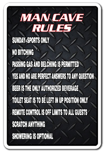 Military Man Cave Signs : Man cave rules parking sign gag novelty gift funny manroom