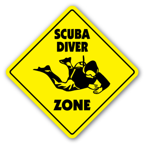 scuba diver zone sign xing gift novelty aqualung diving