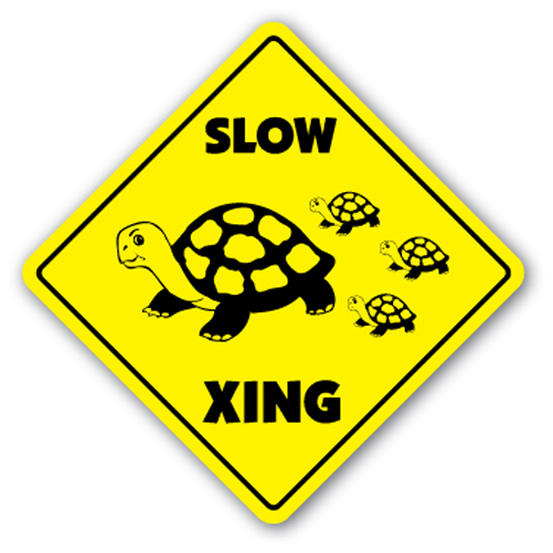 Slow Turtle Crossing Sign Xing Gift Novelty Lover Animal