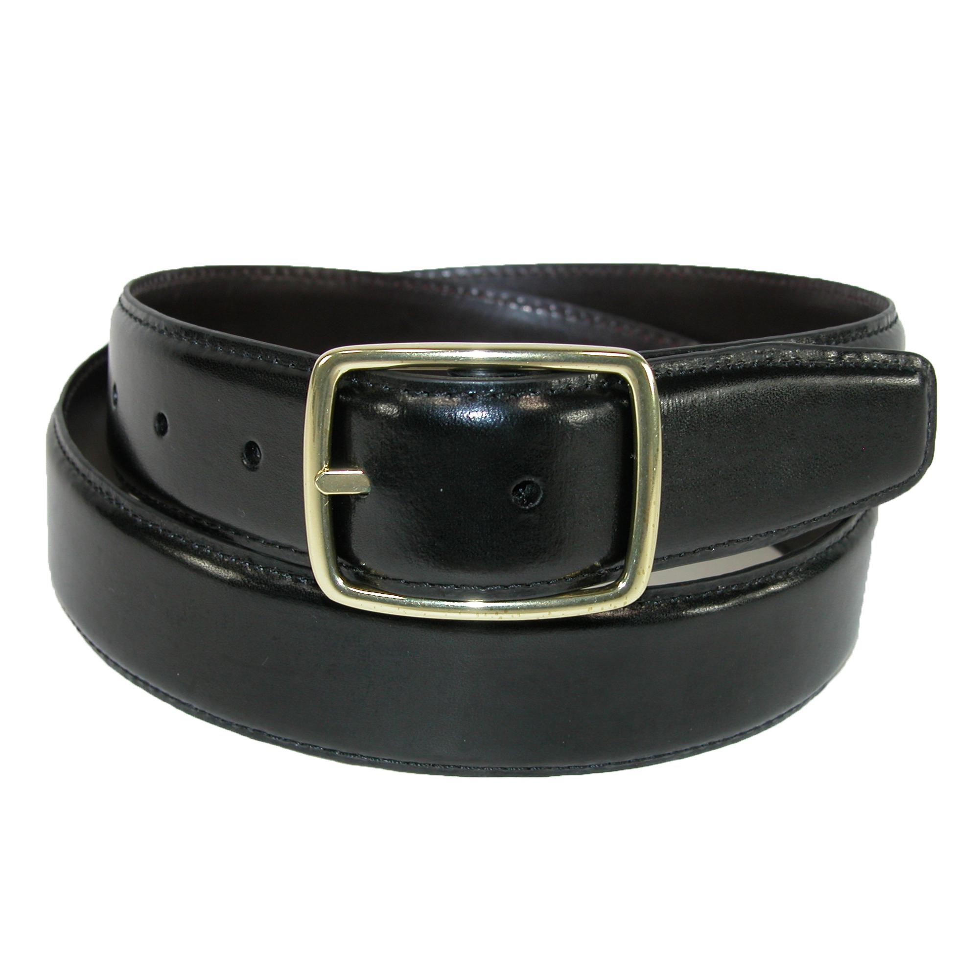 Aquarius Mens Leather Gold Buckle Center Bar Reversible Belt