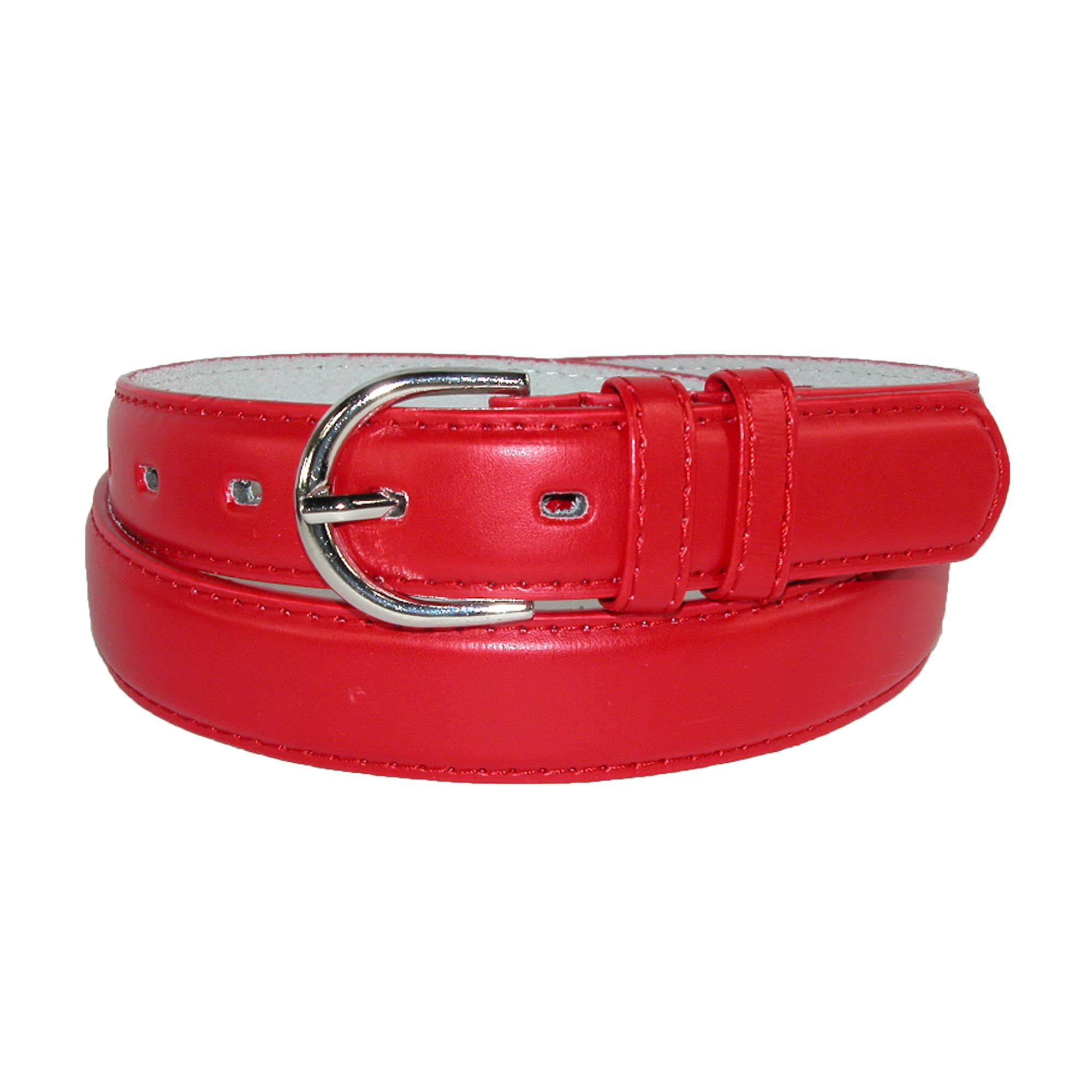 CTM Women's Leather 1 1/8 Inch Dress Belt - Red S