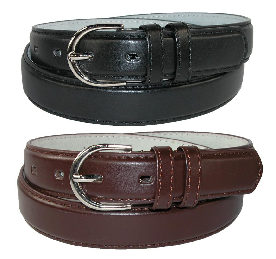 Ctm Womens Leather 1 1/8 Inch Dress Belt (pack Of 2 Colors)