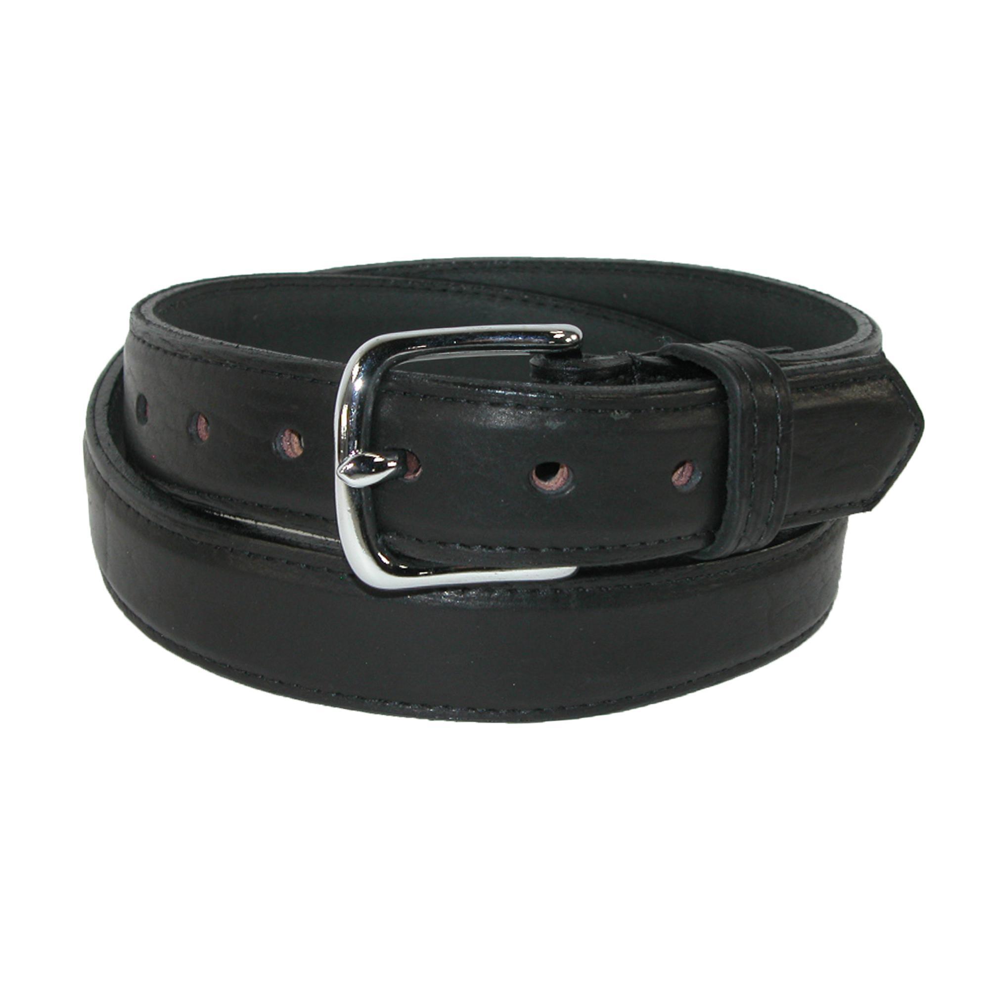 Boston Leather Mens Bison Leather 1.25 Inch Dress Belt