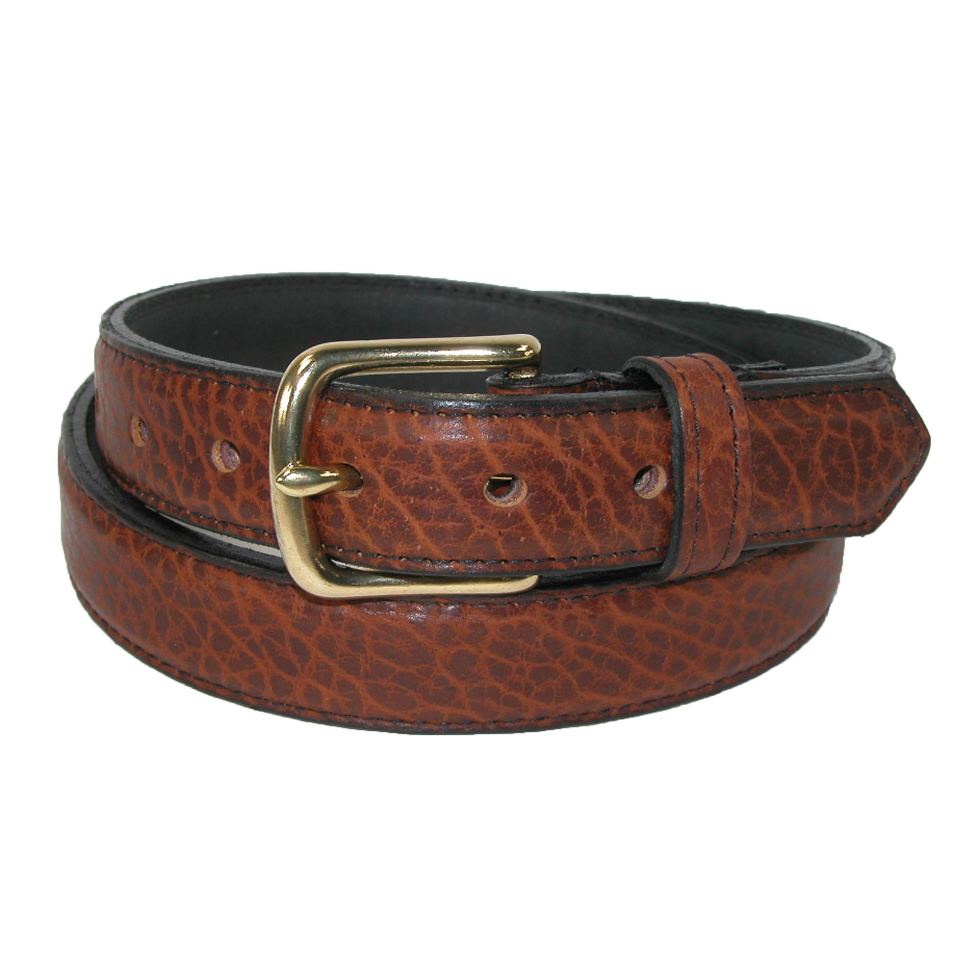 Boston Leather Mens Bison Leather 1.25 Inch Dress Belt