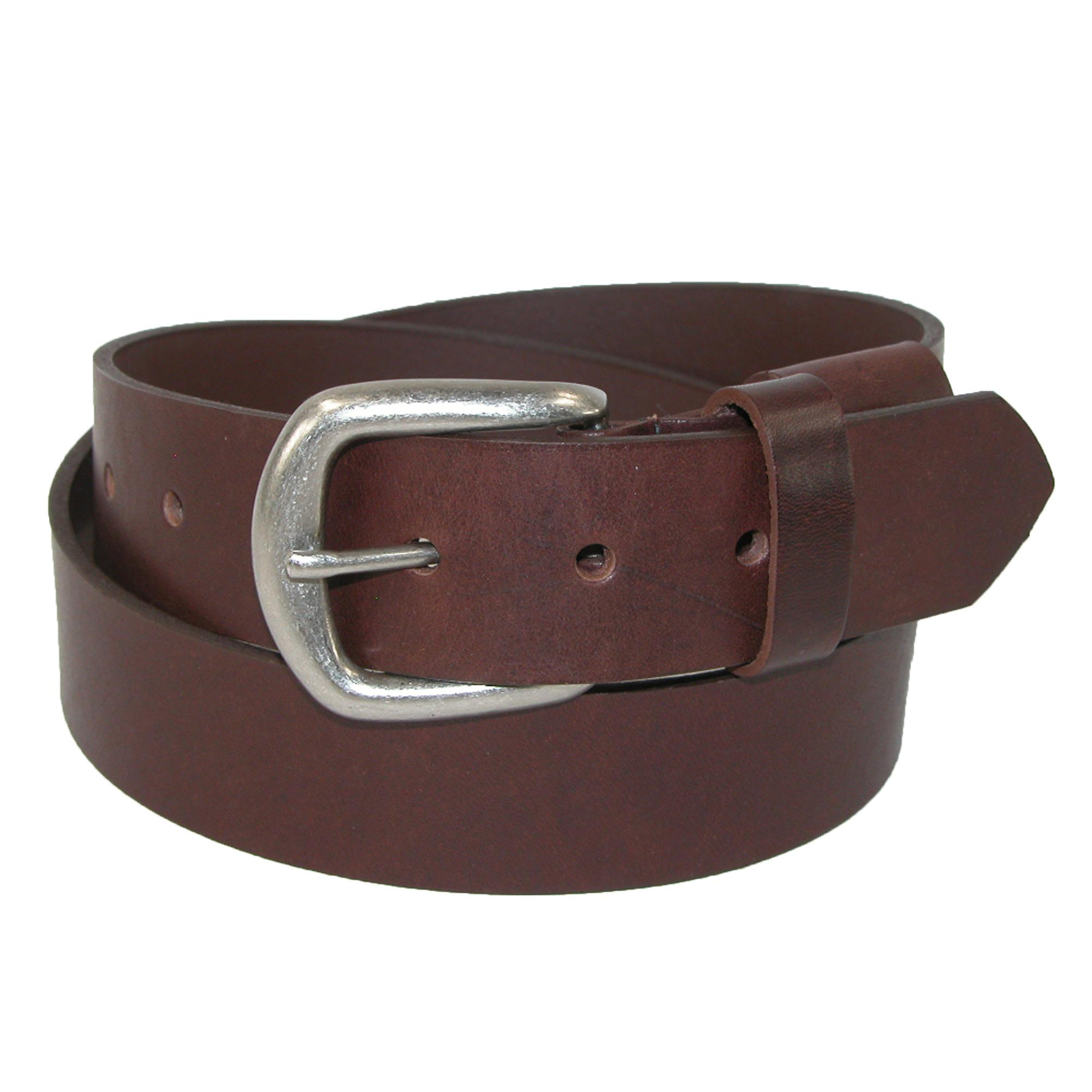 Boston Leather Men's Big & Tall Leather Bridle Belt With Hidden Elastic