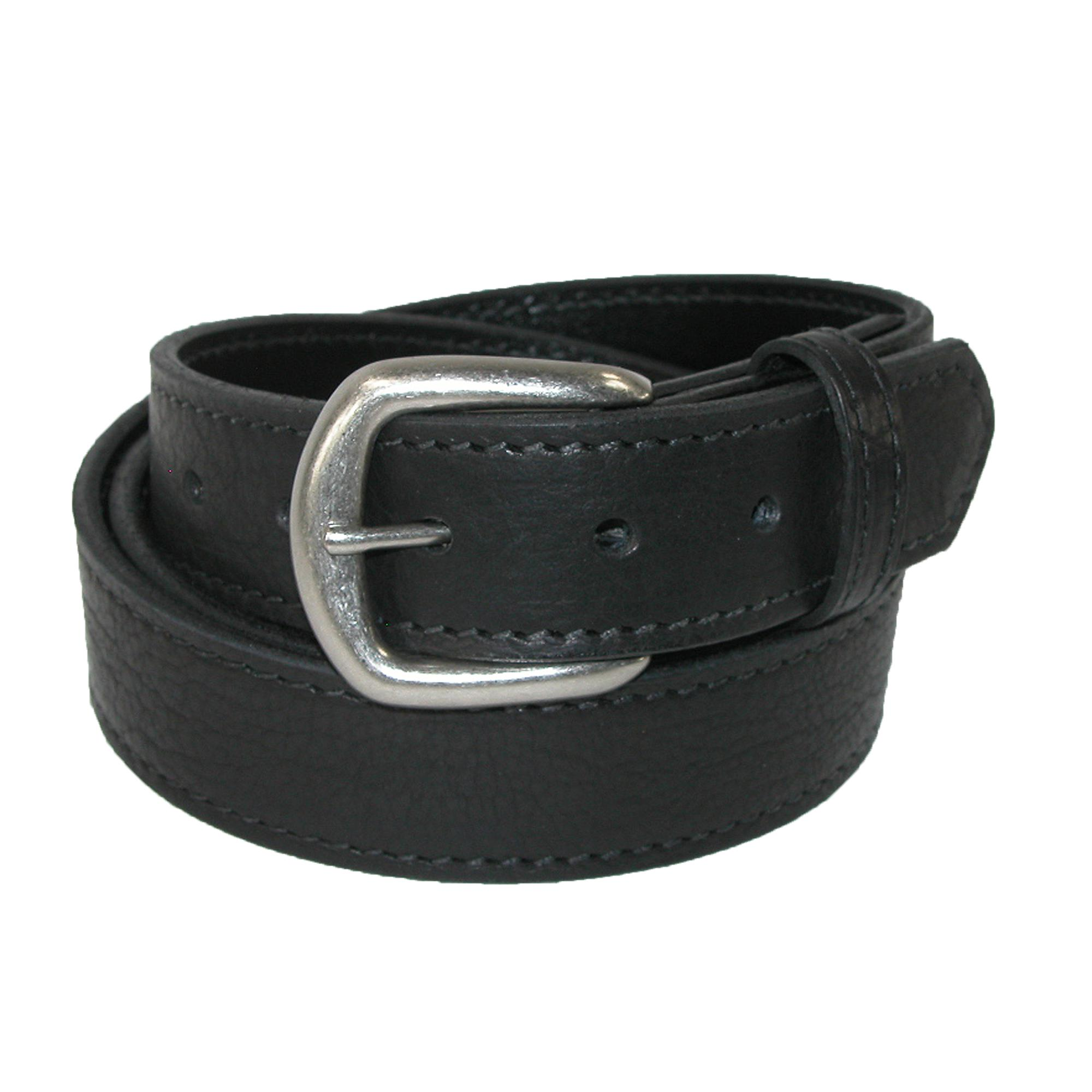 Boston Leather Mens Big & Tall Bison Leather Belt With Removable Buckle